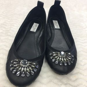 Jimmy Choo Leather Flat with Crystals Size 39